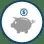 a grey piggy bank icon